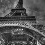 black and white Eiffel tower from under