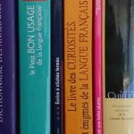 Row of French books on the French language