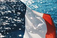 French flag on a sea background