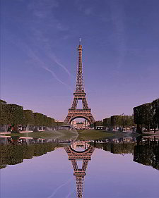 The Eiffel tower and its reflection